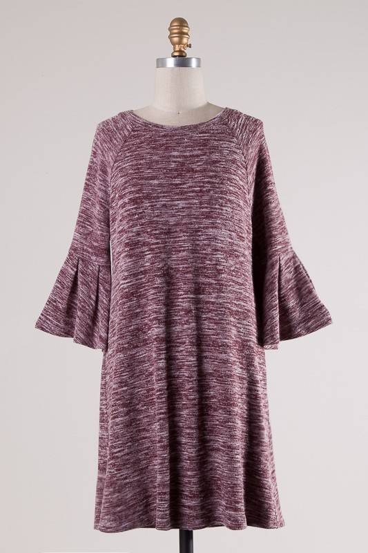 Wine Two Toned 3/4 Bell Sleeve Tunic Dress- SALE ITEM