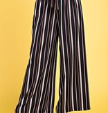 Black/ Burgundy and Ivory Striped Self Tie Pants- SALE ITEM