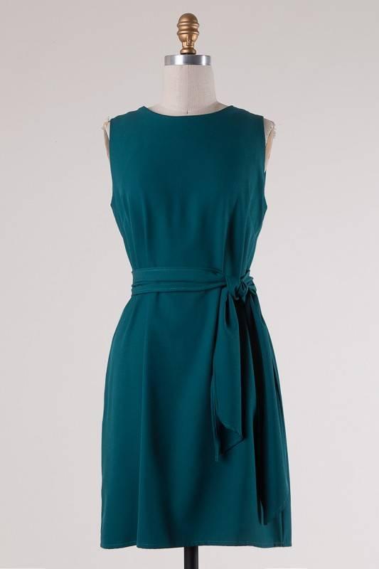 Forest Green Sleeveless Self-Tying Knot Dress