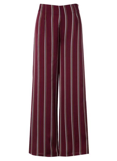Burgundy High Rise Striped Pant- SALE ITEM