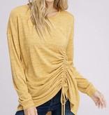 Mustard Ruched Drawstring Knit Top- SALE ITEM