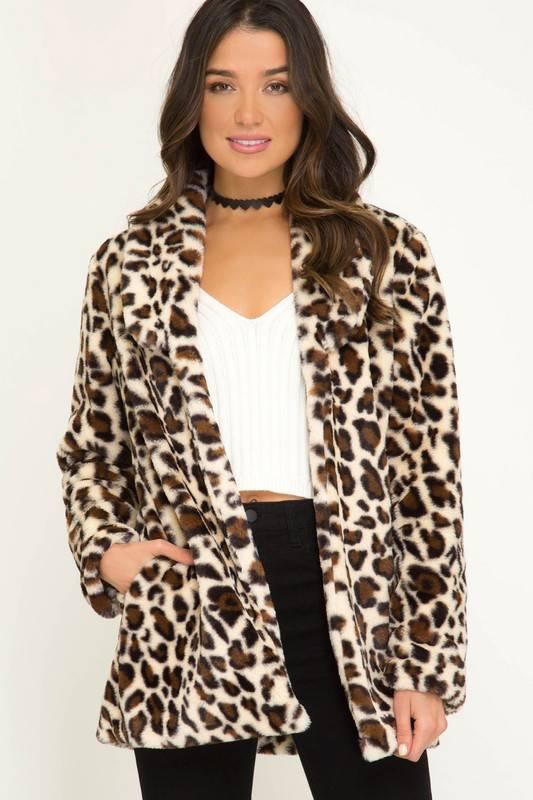 Cream Leopard Faux Fur Jacket