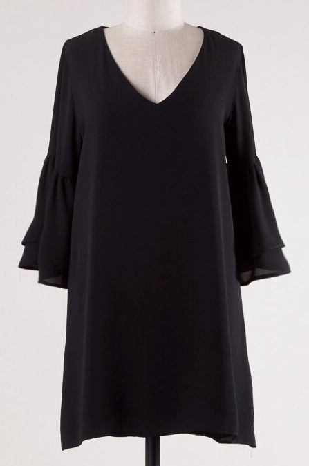 Black 3/4 Length Bell Sleeve V-Neck Dress- SALE ITEM