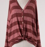 Burgundy Striped Button Detail LS Front Tie Top- SALE ITEM
