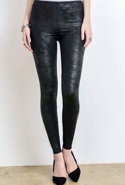 Black Faux Leather Legging with Zipper- SALE ITEM