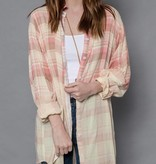 Blush and Cream Plaid LS Top w/ Hippie Back Patch