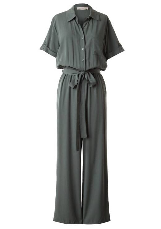 Olive Short Sleeve Button Up Jumpsuit