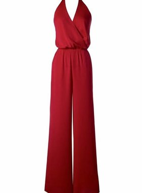 fa90f2a2a435 Red Halter Crossover Neck Jumpsuit