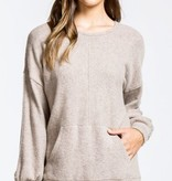 Taupe Brushed Texture Top w/ Front Pocket