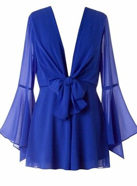 Royal Blue Deep V Romper with Bell Sleeve