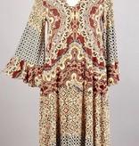 Wine/Gold Criss Cross Printed Dress- SALE ITEM