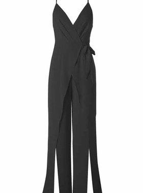 aab9ce083567 Black Crossover Cut Jumpsuit with Leg Slit