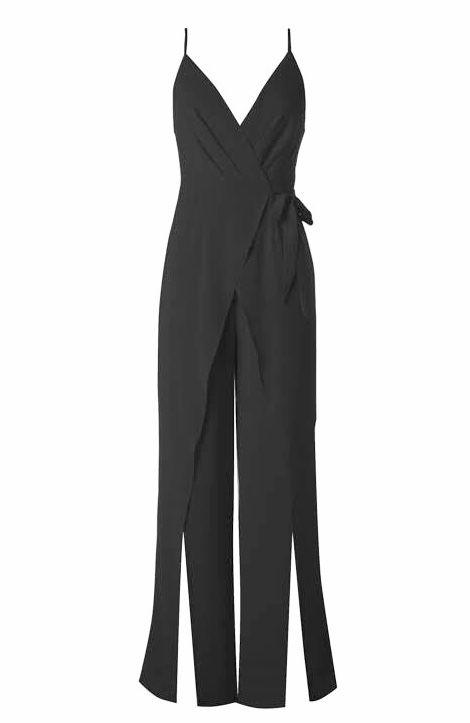 Black Crossover Cut Jumpsuit with Leg Slit