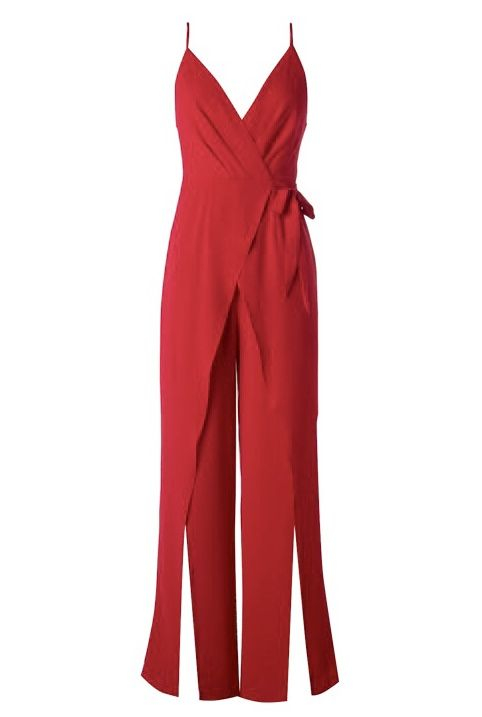 Red Crossover Cut Jumpsuit with Leg Slit- SALE ITEM
