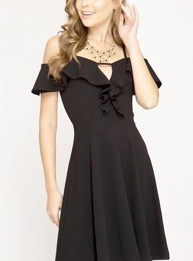 1aa3bb075cde Black Cold Shoulder Ruffle Detail Flare Dress