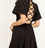 Black SS V-Neck Criss Cross Back Dress