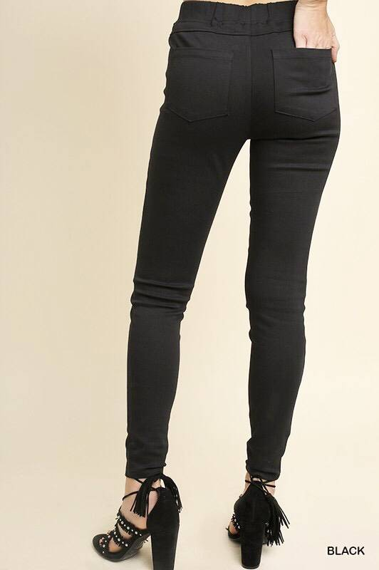 Black Back Pocket Elastic Waist Jeggings