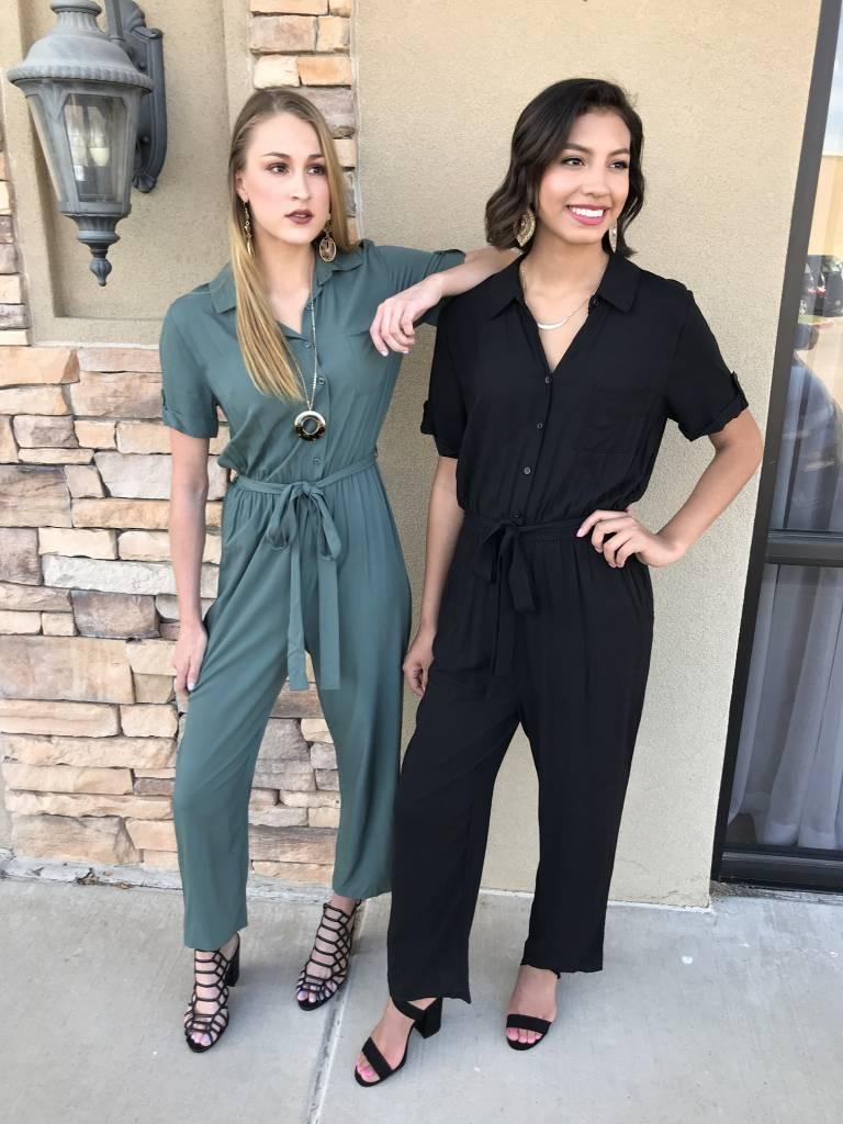 Black Short Sleeve Button Up Jumpsuit