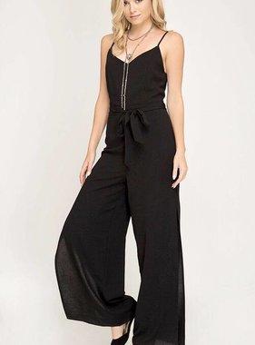 Black Spaghetti Strap Jumpsuit w/ Tie Belt- SALE ITEM