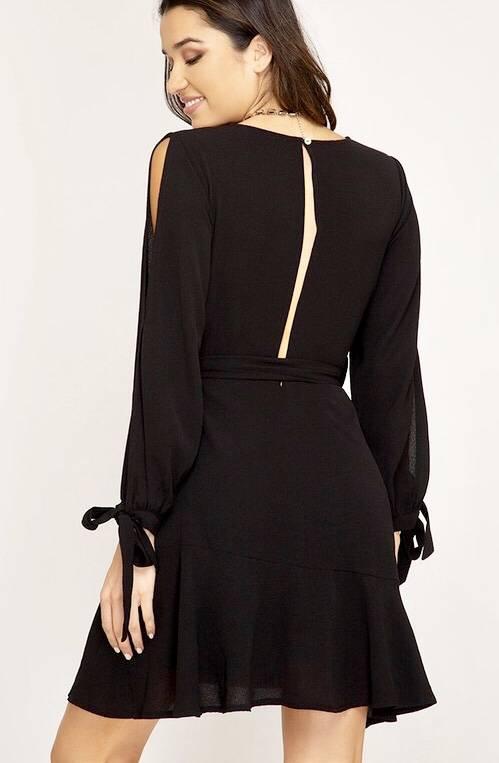 Black V-Neck Tulip Dress