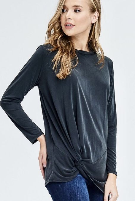 Charcoal LS Knotted Top- SALE ITEM