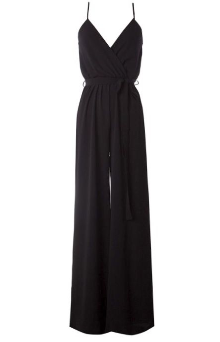 Black Crossover Cut Jumpsuit with Tie Belt