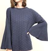 Dusty Navy Knit Sweater w/ Bell Sleeve- SALE ITEM