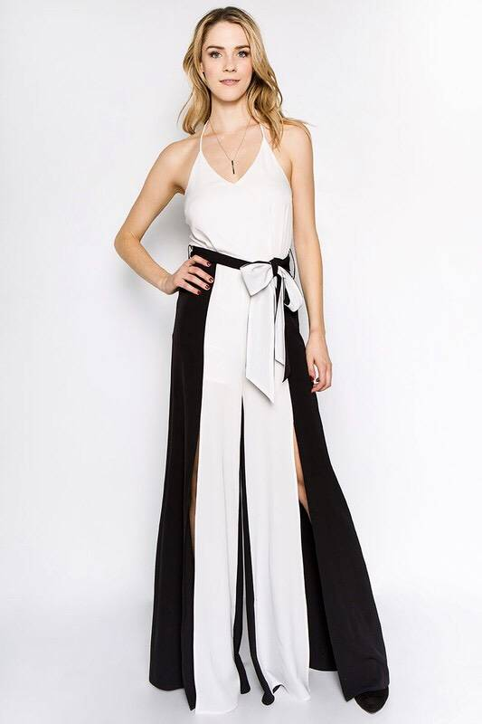 Black and White Halter Neck Jumpsuit with Slit