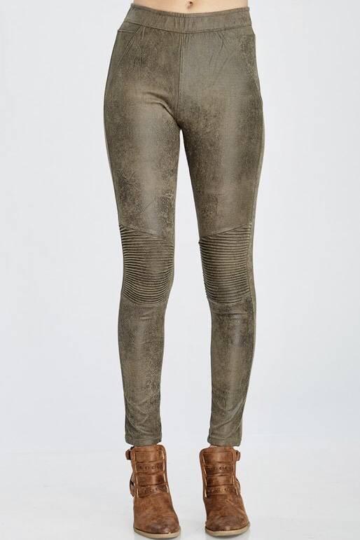 Olive Faux Leather Legging-SALE ITEM