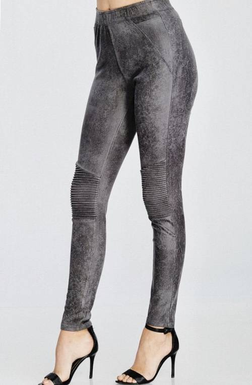 Grey Faux Leather Moto Legging- SALE ITEM