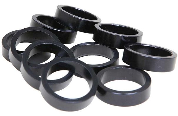 Evo Alloy headset spacers, 28.6mm, Black, 10mm