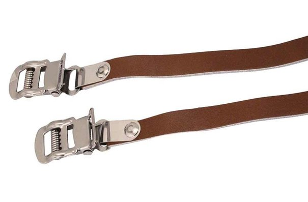 Bike attitude Leather toe-clips straps, Brown