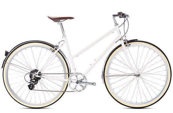 6KU Odessa 8-Speed Step-Through Hybrid Bike, Coney White, Regular