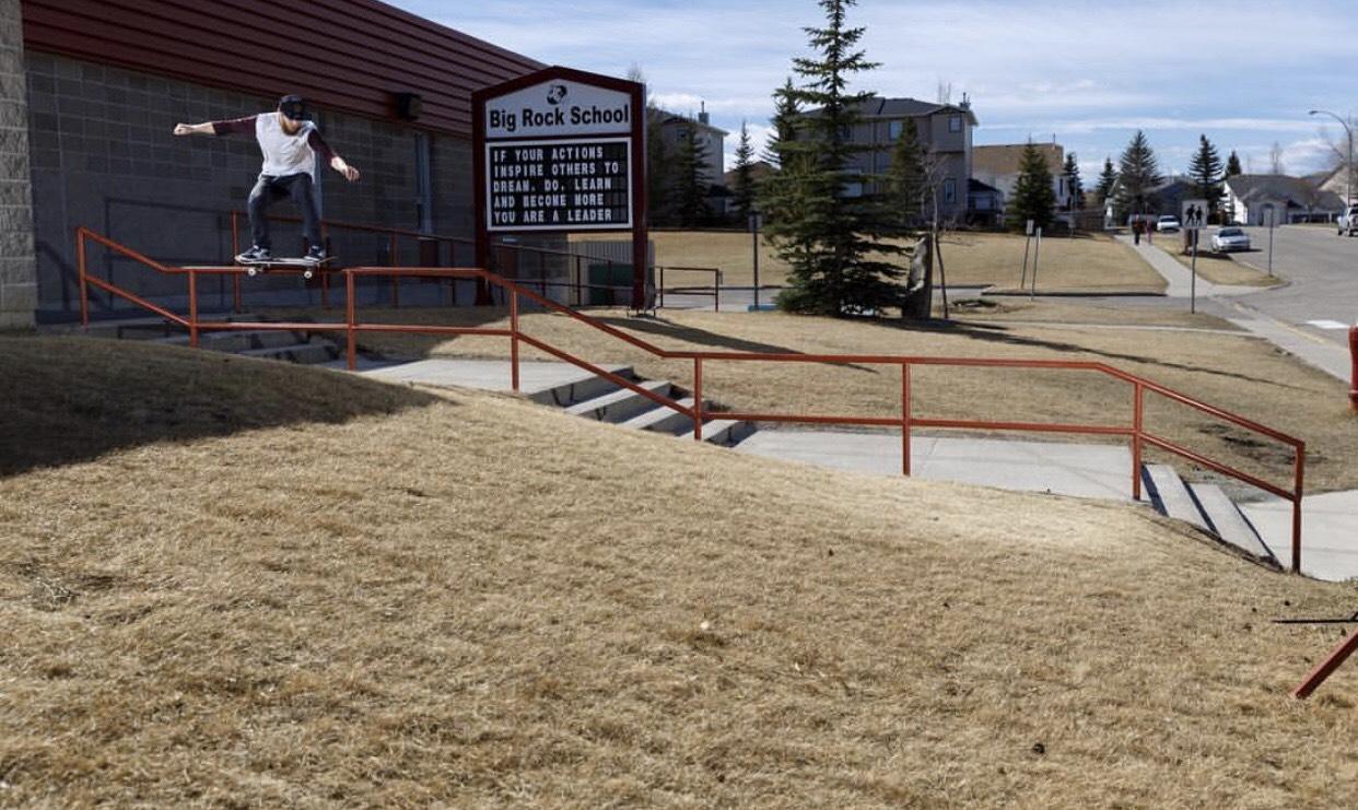 Ryan Spate triple kink 50-50 Grind Calgary skateboarding