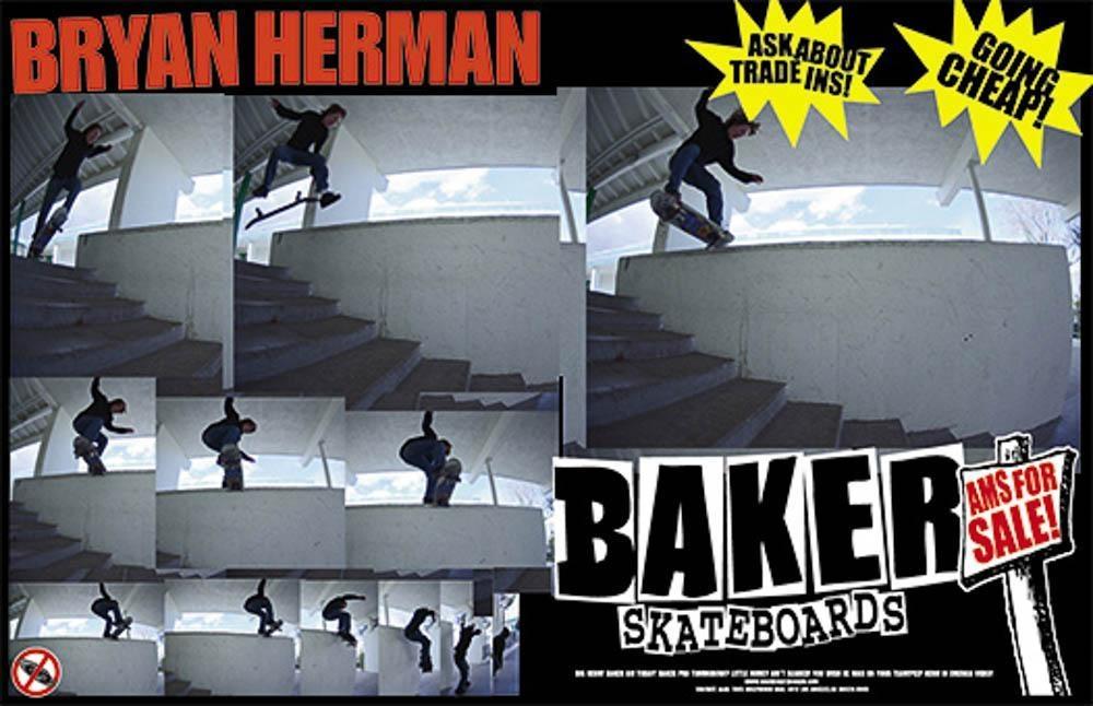 Bryan Herman Kickflip Noseslide Baker Skateboards Ad Thrasher magazine