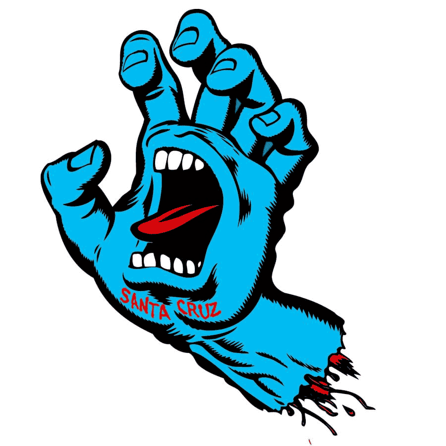 Santa Cruz skateboards screaming hand logo Jim Phillips Artwork