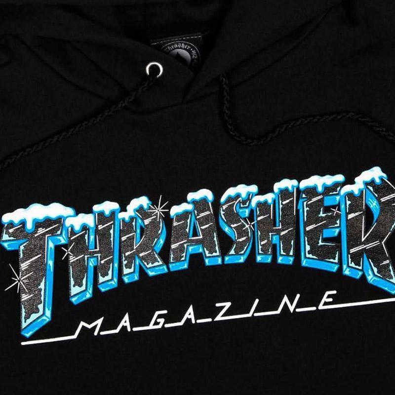 Thrasher Black Ice logo hoodie black online canada