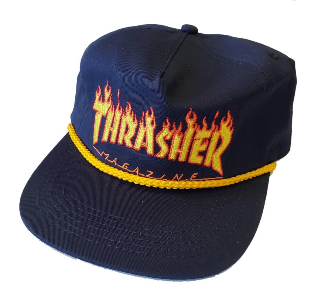 Thrasher Thrasher Flame Rope Snapback Hat (navy) - Shredz Shop aa06a80b200