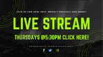 Next Live Stream Thursday May 7th @5:30pm