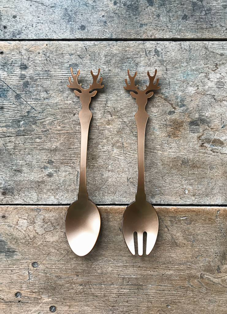 Sabre Deer Silhouette Salad Servers