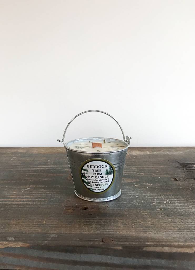 The Birch Store Fir Tree Candle in Galvanized Pail