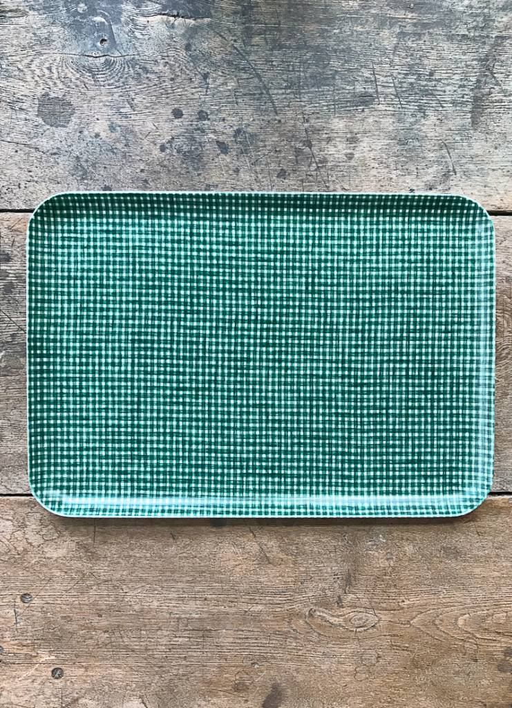 Fog Linen Green Check Linen Coated Tray