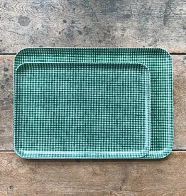Fog Linen Green Check Linen Coated Tray