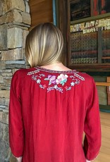 The Birch Store Embroidered Silk Nixie Blouse