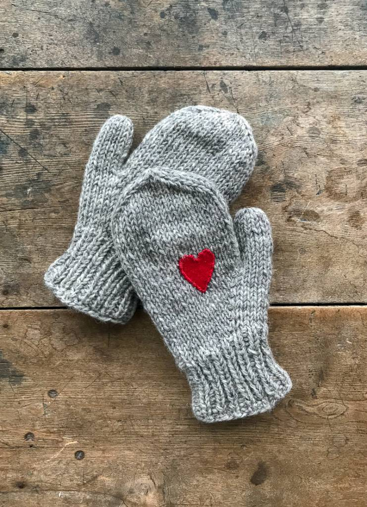 The Birch Store Wool Mittens With Heart