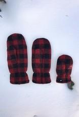 Polar Mitts Kid's Red Buffalo Plaid Mittens