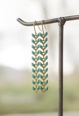 The Birch Store Enameled Brass Laurel Leaf Earring