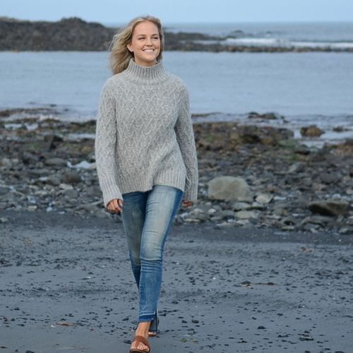 The Birch Store Alpaca Lattice Mock Neck Sweater