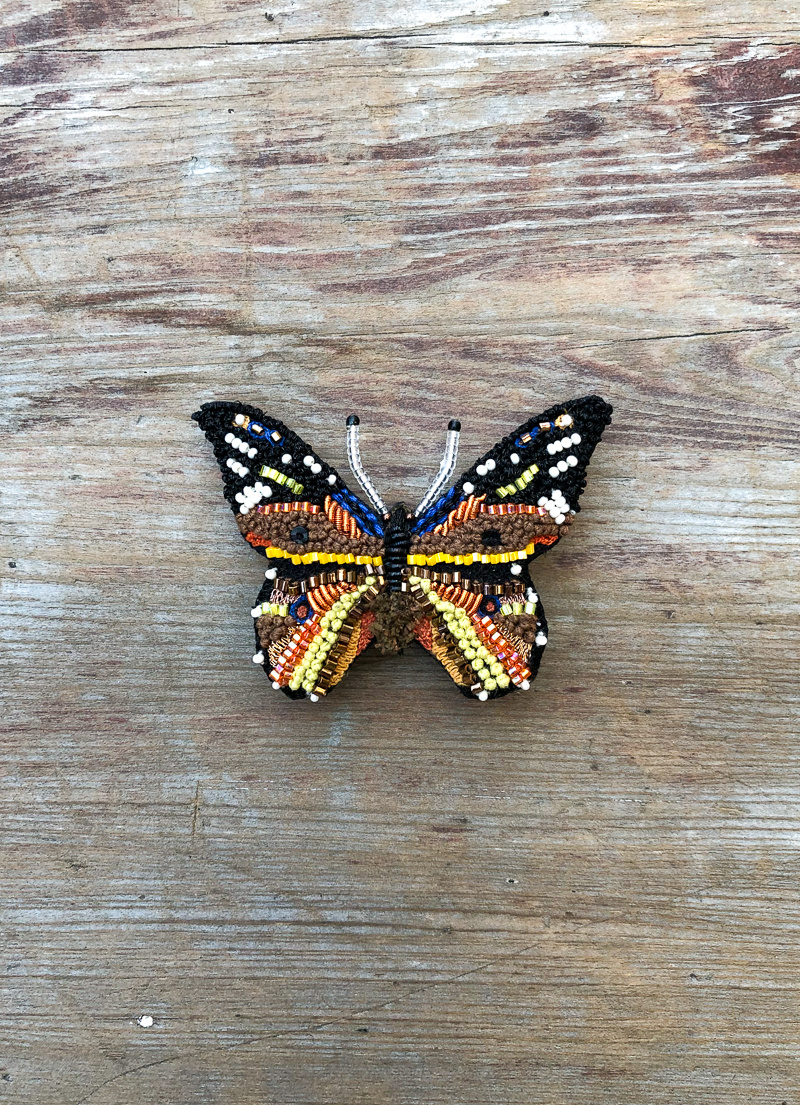 The Birch Store Beaded Monarch Butterfly Brooch