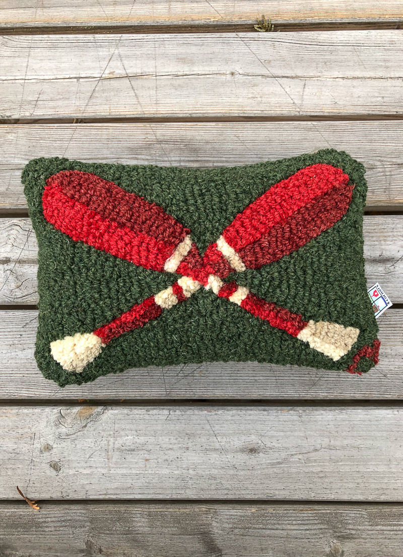 The Birch Store Crossed Paddles Hooked Pillow